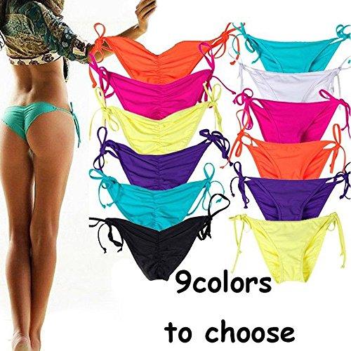 e49b7bf89d1a0 CROSS1946 Sexy Brazilian Ruched Semi Thong Bikini Bottom Women Tie Side by  UPS S