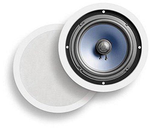 Pair of 8-inch 2-Way 100W RMS Peak In-Ceiling In-Wall Stereo Audio Speaker White