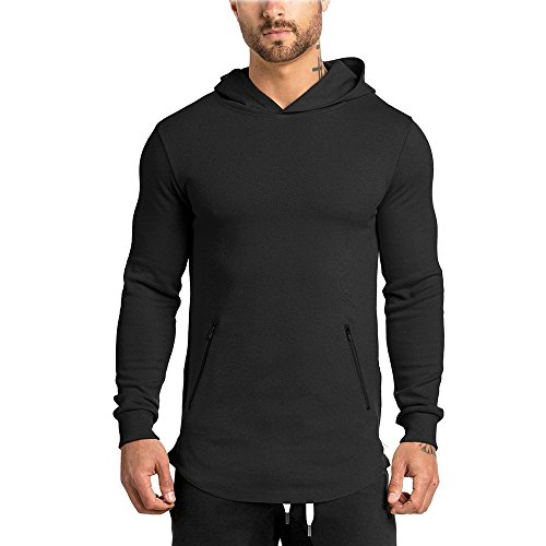 MECH-ENG Mens Gym Workout Long Sleeve Hoodie Active Muscle Bodybuilding Fitness Zip Jackets
